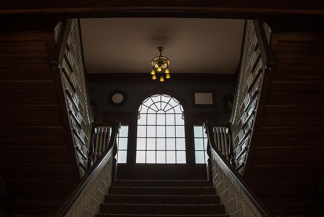 This photo shows the main staircase at the Stanley Hotel in Estes Park, Colorado