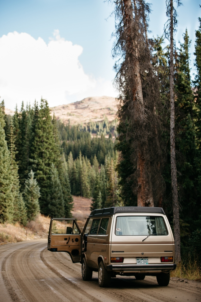This photo shows a camper van in the woods