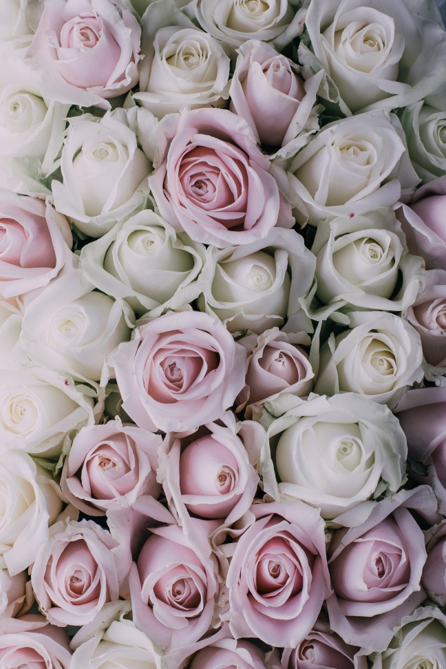 This photo shows a floral arrangement of pink roses