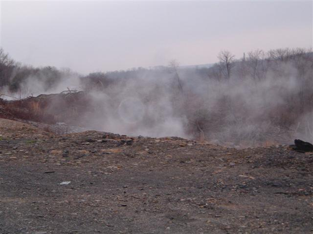 This photo shows a smoking pit in Centralia, Pennsylvania