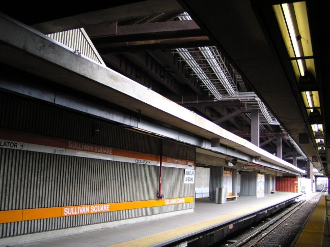 This photo shows the subway platform at Sullivan Square in Somerville and Charlestown, Massachusetts