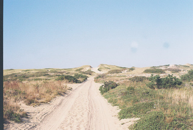 A sandy path between dunes leads to the hillier dunes in Provincetown